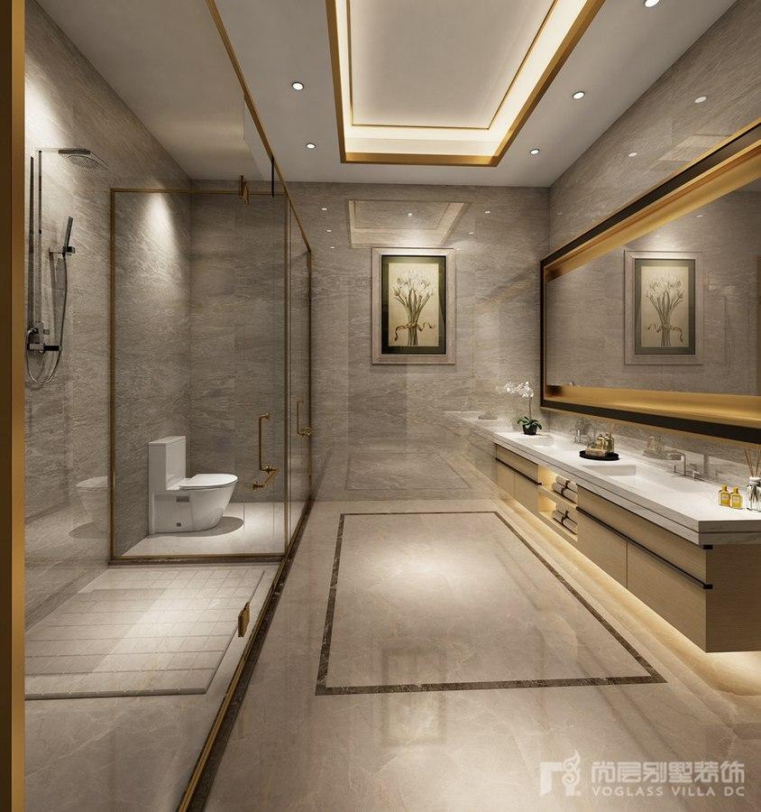 铜边的装饰,石材的墙地面,在灯光的融合下,让卫生间更加高档,简约而不